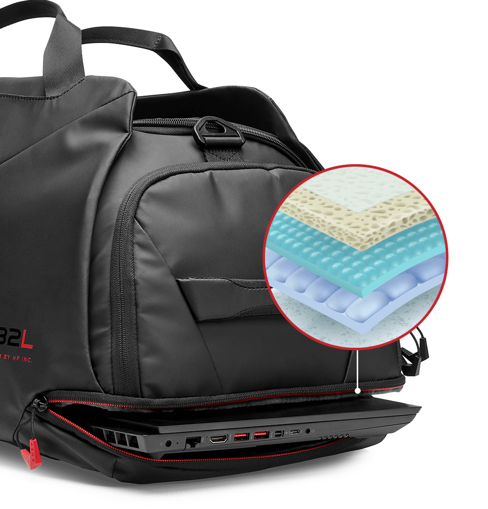 Padded laptop compartment with